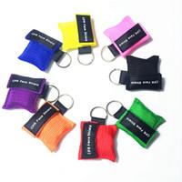 trainingshilfen großhandel-CPR Rescue Mask Shield CPR-Maske mit Schlüsselkette und Einwegventil für Erste-Hilfe-Training 8 Farben LJJZ319