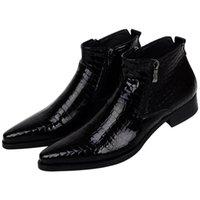 botas de tornozelo serpentina venda por atacado-Tamanho grande EUR46 Serpentina Azul / Preto Mens Ankle Boots Sapatos de Casamento Sapatos de Couro Genuíno Homem Vestido Sapatos