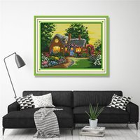 handgemälde großhandel-Suburban House Paintings, gedruckt auf Leinwand gezählt DMC 14CT 11CT Kreuzstich-Kits, Stickerei-Handarbeit-Set, handgemachte Handwerk Home Decor