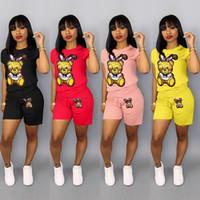 conjunto de mujeres chándal al por mayor-Trajes de moda para mujer Diseñador Lentejuelas de dibujos animados Chándales 2pcs Conjuntos de ropa Camisetas Pantalones Color caramelo