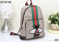 mochila de cuero al por mayor-Nuevo estilo de las mujeres de la mochila de la moda de los hombres de la abeja mochilas de alta calidad de cuero de la PU bolsas de viaje de la señora mochila