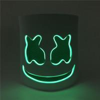 máscara de bricolaje al por mayor-Máscaras de fiesta Diy Eva Dj Marshmello Máscara de fiesta de luz LED Cosplay Prop Máscara de Halloween Divertido Máscaras de barra de Halloween Casco