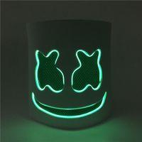 diy parti halloween maskeleri toptan satış-Parti Maskeleri Diy Eva Dj Marshmello Led Işık Parti Maskesi Cosplay Prop Cadılar Bayramı Maskesi Komik Cadılar Bayramı Bar Maskeleri Kask