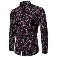 цветочные платья сверху оптовых-Fashion Men Stylish Slim Fit Floral Shirt Long Sleeve Dress Shirts Tops Male Button Down Geometry Shirt s Business Formal