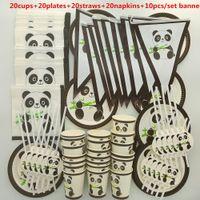 pandas felizes venda por atacado-20 pessoas bonito adorável Conjunto de Talheres Panda Crianças feliz Aniversário crianças do bebê menino menina primeiro chuveiro Fontes Do Partido Decoração