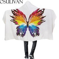 Wholesale butterfly knitted hat resale online - Osulivan Watercolor Butterfly Hat Blanket Winter Cloak For Home Travel Sleep Bed Sofa Chair Car Swim Beach Cosplay Diy Room Gift