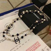 perlenkette brosche großhandel-Frauen hochwertige 18K Gold Halskette natürliche Nano Perlenkette Mode lange Pullover Halskette weibliche beiläufige Brosche