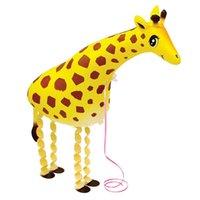 balon gemisi toptan satış-Zürafa dinozor Toptan Çeşitli Alüminyum Folyo Helyum Yürüyüş Hayvan Pet Balonlar bebeğin Oyuncak Hediye Yeni Geliş Ücretsiz Kargo