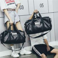 grandes sacos de ginástica de couro venda por atacado-Novos homens de curta distância saco de viagem preta grande capacidade de PU de couro bolsa de moda esportes ginásio mochilas impermeáveis sacos