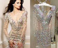 Wholesale sparkling long cocktail dress resale online - Sparkling Rhinestone Mini Club Wear Dress Party Gowns Deep V Neck Long Sleeves Sexy Cocktail Short Prom Dresses
