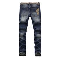robin jeans coat venda por atacado-Desgaste Angustiado dos homens Skinny Jeans Designer de Moda Mens Jeans Slim Motocicleta Moto Motociclista Causal Mens Denim Calças Jeans Hip Hop Dos Homens