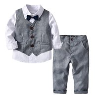 Wholesale jacket double breasted kids resale online - Autumn INS Kids Boys Clothing Suits Spring Gentleman Tatting Cotton Shirt Bow Tie Waistcoat Pants Set Children Kids Boys Clothing Sets