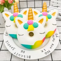 Wholesale 1PC Jumbo Kawaii Cute Unicorn Donut Squishy Bread Cream Scented Super Slow Rising Cartoon Cake Phone Strap Squeeze Toy Kids party event gift