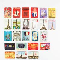 aufkleber paris großhandel-24 STÜCKE Paris Turm Sehenswürdigkeiten Kühlschrankmagnete Set Kühlschrank Magnetische Aufkleber Frankreich Reise Souvenir Dekoration