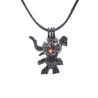 ingrosso disegno di cuoio della collana nera-vendita all'ingrosso 50 pezzi mix design Gabbia per perle fiore nero con pendente catena ciondolo carino catena in pelle moda