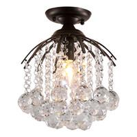 ingrosso specchio di cristallo moderno-Moderno nero Lusters LED Crystal Chandelier Lighting Mirror E26 / 27 Lampada da soffitto per apparecchi di illuminazione Home Decor soffitto Light Fixture