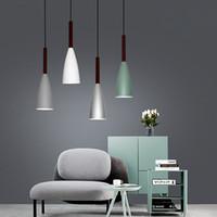 led spot kolye lambası toptan satış-İskandinav Minimalizm droplight E27 Alüminyum Ahşap Kolye Işıkları, Ev restoran dekor aydınlatma lambası ve Bar Vitrin spot ışık
