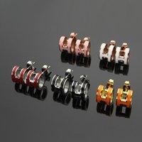 ingrosso orecchini neri arancioni-Orecchini a forma di lettera H di alta qualità di alta qualità nero-bianco-arancio-rosa-blu Orecchini a forma di lettera H in oro 18 carati