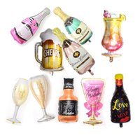 Wholesale party supplies cups for sale - Group buy Wedding Anniversary Party Foil Balloons Champagne Bottle Beer Cup Birthday Cake Ballons Wedding Decorations Birthday Party