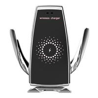 smartphone wireless ladegerät großhandel-Automatische klemmung schnellladung handyhalter halterung im auto für iphone xr huawei samsung smartphone 10 watt wireless auto ladegerät