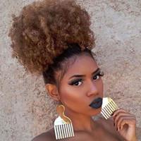 волосы два хвостика оптовых-Синтетические афро Puff Drawstring хвост короткие кудрявый вьющиеся волосы булочка расширение пончик шиньон шиньоны парик прически волосы с двумя клипами