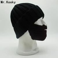 kadın maskeleri gags toptan satış-Mr.Kooky Yeni Yenilik erkek kadın Serin Komik Kış Sıcak Örgü Flanş Beanies Yüz Maskesi Sakal Şapka Noel Gag Gorros Hediyeler