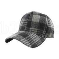 Wholesale felt baseball cap resale online - Plaid Snapback Hip Hop Cap Baseball Skateboard Hip Hop Cap Men Women Winter Felt Hats colors LJJK1950