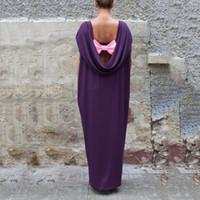 vestido muçulmano casual venda por atacado-Ocasional Maxi Camisa Vestido Completo Abaya Arco Sexy Backless Loose Longo Robe Vestidos de Festa Vestido Muçulmano Kimono Solto Vestuário Islâmico