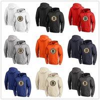 bej hoodies sweatshirts toptan satış-Erkek Boston Bruins Fanatics Markalı Siyah Kül Beyaz Kırmızı Turuncu Bej Birincil Logo Kazak Hoodies uzun Kollu Tişörtü Açık Wea