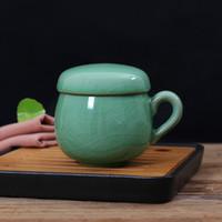 ingrosso porcellana di tè-Tazza da tè in porcellana cinese con coperchio e filtro per infusi Tazza da tè Tazza per teiera Celadon Regalo per bicchieri da viaggio Tazze portatili