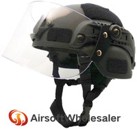 Wholesale fast helmet for resale online - Lightweight Tactical Helmets Fast MICH Helmet With Transparent Sun Visor For Airsoft Paintball CS War Games Outdoor Sports
