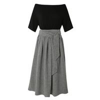 coreano vestido de renda senhora venda por atacado-Mulheres Maxi Vestidos Elegantes Estilo Coreano Senhora Do Escritório Do Vintage Aline Preto de Cintura Alta Lace Up Simples Verão Feminino Moda vestido