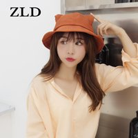 Wholesale cat basin resale online - ZLD Women Fisherman Cap Small Tail Cat Ear Basin Bucket Hat Girl Korean Pure Color Sunscreen Student Lovely Sunshade Lady Caps