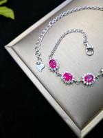 piedra preciosa rubí rosa al por mayor-925Sterling Silver Natural Ruby Bracelets 8 piezas Oval Facted Pink Gemstone Prong Setting Estilo clásico pulseras finas para regalo de aniversario