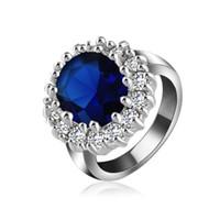 ingrosso principesse kate-Britannico Kate Princess Diana William Anello di fidanzamento in argento colore anello di cristallo austriaco moda regalo di nozze gioielli