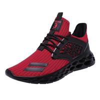 nefes alabilen dokuma ayakkabılar toptan satış-Erkekler Örgü Ayakkabı Moda 2019 Fly Dokuma Erkek Sneakers Tasarımcılar Erkek Ayakkabı Casual Lace Up Nefes Açık Yürüyüş Ayakkabıları