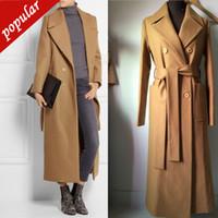 abrigo de invierno trinchera de nylon al por mayor-Nuevo otoño invierno mujer sólido largo abrigos de lana elegante mujer de doble botonadura cinturón prendas de vestir exteriores zanja S-xxl