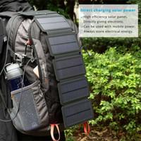 cargadores de batería de teléfono celular solar al por mayor-Alta calidad de energía solar plegable de paneles solares células 5 V 10 W cargador de batería móvil portátil para teléfono acampar al aire libre
