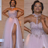 Wholesale evening dress black ruffle for sale - Group buy 2020 Elegant Purple Halter Prom Dresses With Lace Appliqued Side Split Sleeveless African A Line Evening Party Gowns Custom Made