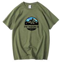 boyun üstleri toptan satış-PATAGONIA Yaz T-Shirt Erkekler Hip Hop O Boyun Kısa Kollu Siyah Tasarımcı T Gömlek Tee En