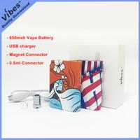 mejor bateria de voltaje variable al por mayor-La mejor Mod de batería Vape para cartuchos de 1 ml - Vibes Chan Box original Batería de voltaje variable de 650 mah 510 Rosca con conector magnético para G5
