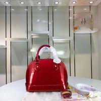 длинный плечевой ремень сумки оптовых-Продажа классических сумок Alma BB с маленькими раковинами из лакированной кожи серии сумок дизайнерских сумочек модных моделей с длинными бретелями