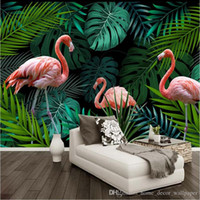 Wholesale hand painted plant resale online - Custom Mural Wallpaper Nordic Style Hand Painted Plant Flamingo TV Background Decoration Painting Modern Living Room Wallpaper