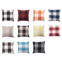 Wholesale customized pillows resale online - 45 cm Linen Checked Pillowcase Pillow Pillowcase Cotton And Linen Pillowcase Sofa Cushion Can be Customized XD23543