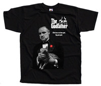 Wholesale free movie posters for sale - Group buy The Godfather V1 movie poster Al Pacino T SHIRT BLACK all sizes S XL Men Women Unisex Fashion tshirt