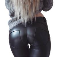 ingrosso pantaloni in spandex in pelle-Pantaloni in pelle Taglie PU elastico in vita Donne Hip spinge verso l'alto sexy nero femminile Leggings Jeggings casuali scarni dei pantaloni della matita