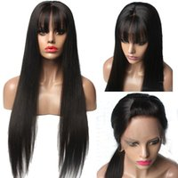 Wholesale human hair chinese bang wig for sale - Fashion Human Hair Wig Full Bangs Silky Straight Brazilian Virgin Hair Lace Front Wig Full Lace Wig For Black Women With Baby Hair