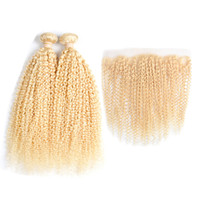 Wholesale curly human hair 613 resale online - Malaysian afro Kiny Curly Blonde Bundle Hair with Lace Frontal inch Human Hair with Pre Plucked Closure Density