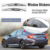 Wholesale windshield sticker for honda resale online - Matte Glossy Black Car Sticker Window Frame Trim Stickers Decals For Honda For Civic Sedan Blackout Overlay