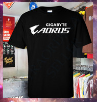 Wholesale blue color laptop resale online - New Gigabyte Aorus Laptop Gaming T Shirt S XL Custom t shirt logo text photo Mens Womens T shirt men tshirt rock Unisex t shirt